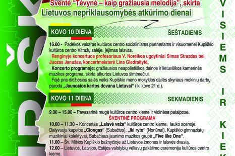 Kovo 11 d. šventė, skirta Lietuvos nepriklausomybės atkūrimo dienai