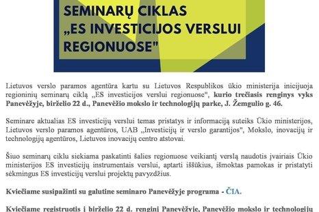 Verslo seminarai Panevėžyje!