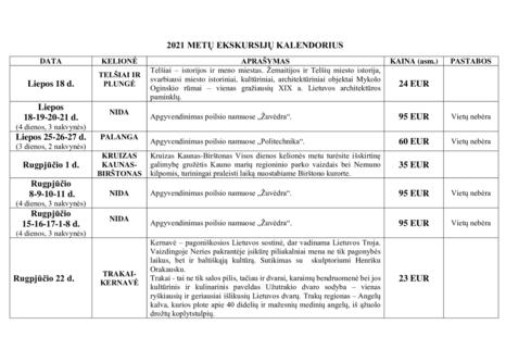 2021 metų ekskursijų kalendorius