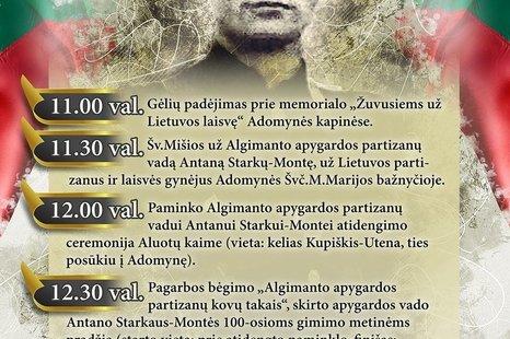 Paminklo Algimanto apygardos partizanų vadui Antanui Starkui - Montei atidengimo ceremonija