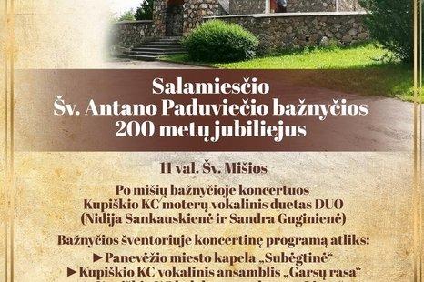 Salamiesčio Šv. Antano Paduviečio bažnyčios 200 metų jubiliejus