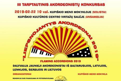 """III Tarptautinis akordeonistų konkursas """"Liepsnojantys akordeonai 2019"""""""