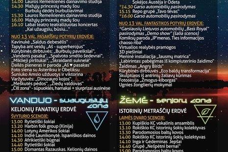 """Festivalio """"Stichijos"""" programa ir veiklos zonose"""