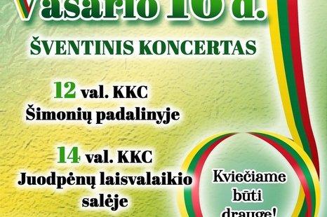 Šventiniai vasario 16-osios koncertai Šimonyse ir Juodpėnuose